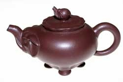 Purple Clay Teapot with Baby Elephant (HW-07)