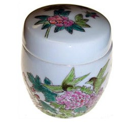Porcelain Container -Peony/Birds (FY03)