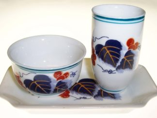 3-pc Ceramic Aroma Tea Cup Set - Grape Vine